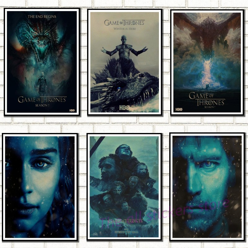 Game of thrones season 7 Vintage Retro Posters Wall Stickers Home Decoration High Quality Prints RM Kraft paper poster./8008 image