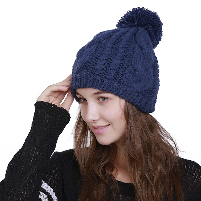Woman's Warm Acrylic Winter Hats Knitted Cap For Woman   Skullies     Beanies   8 Colors