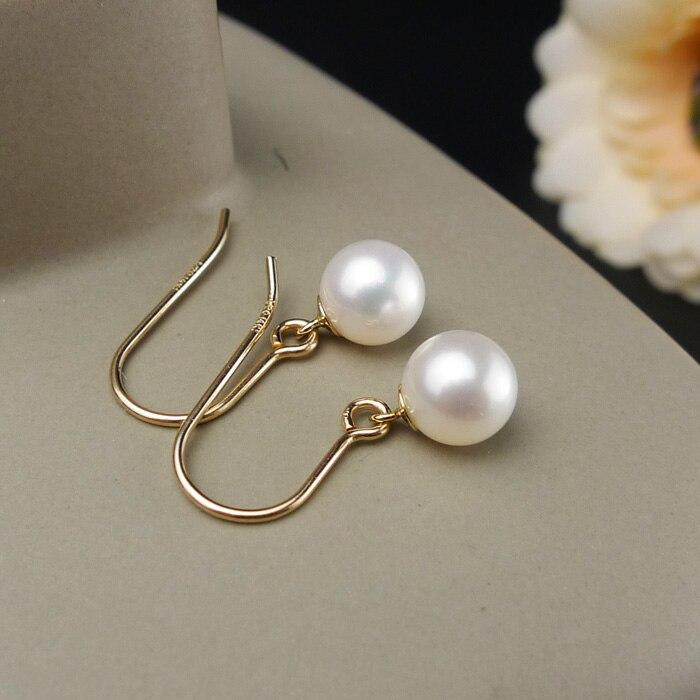 925 argento reale naturale grande luminoso speciale 8 9 MM d'acqua dolce naturale della perla orecchini orecchino femminile Coreano semplice ed elegante argento - 2