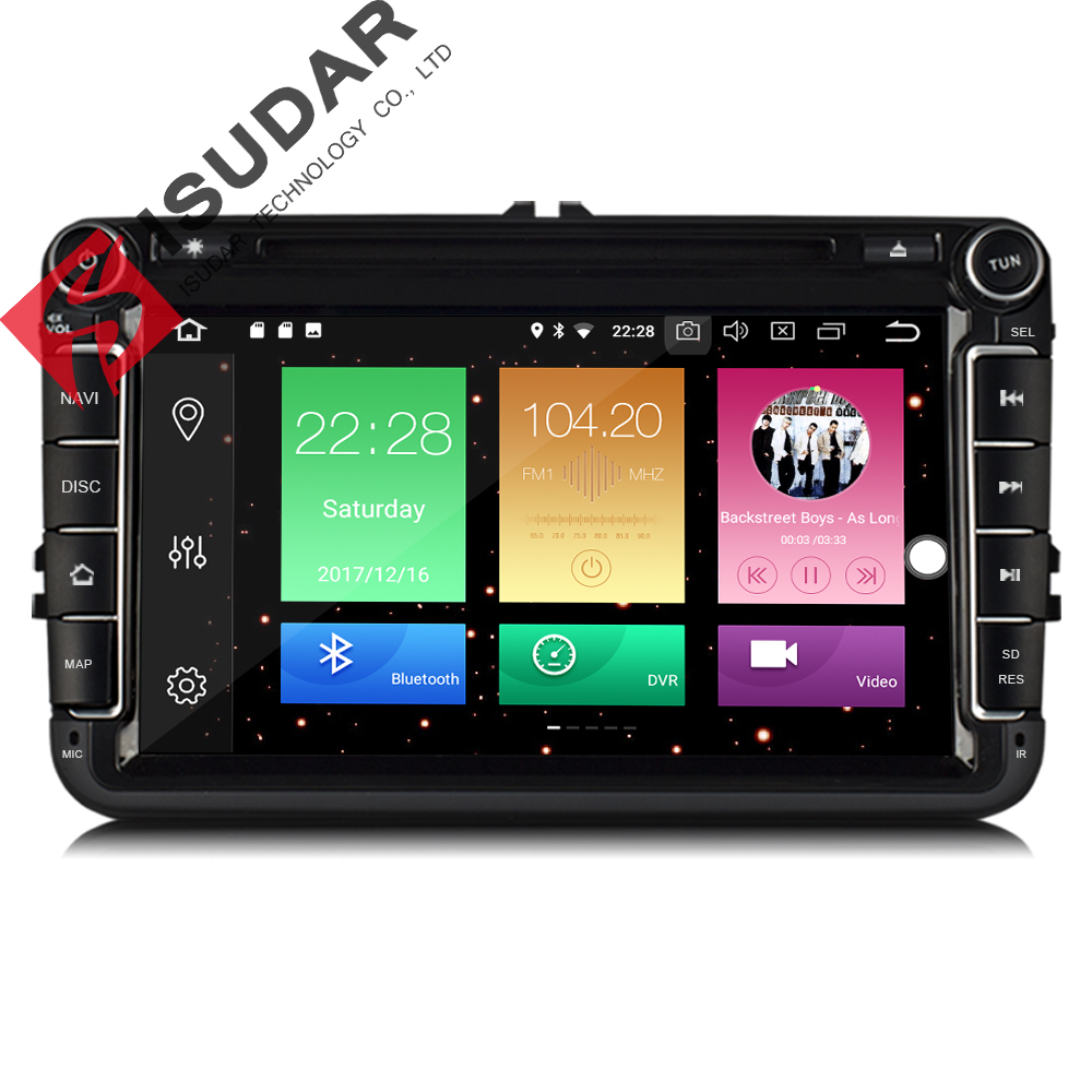 Isudar Car Multimedia player GPS Android 8.0 2 Din For VW/Volkswagen/POLO/PASSAT/Golf Rear View camera Capacitive Touch Screen joying 2 din android 8 0 car stereo 8 inch 4gb ram auto gps with free rear view camera bt for volkswagen vw polo passat golf 456