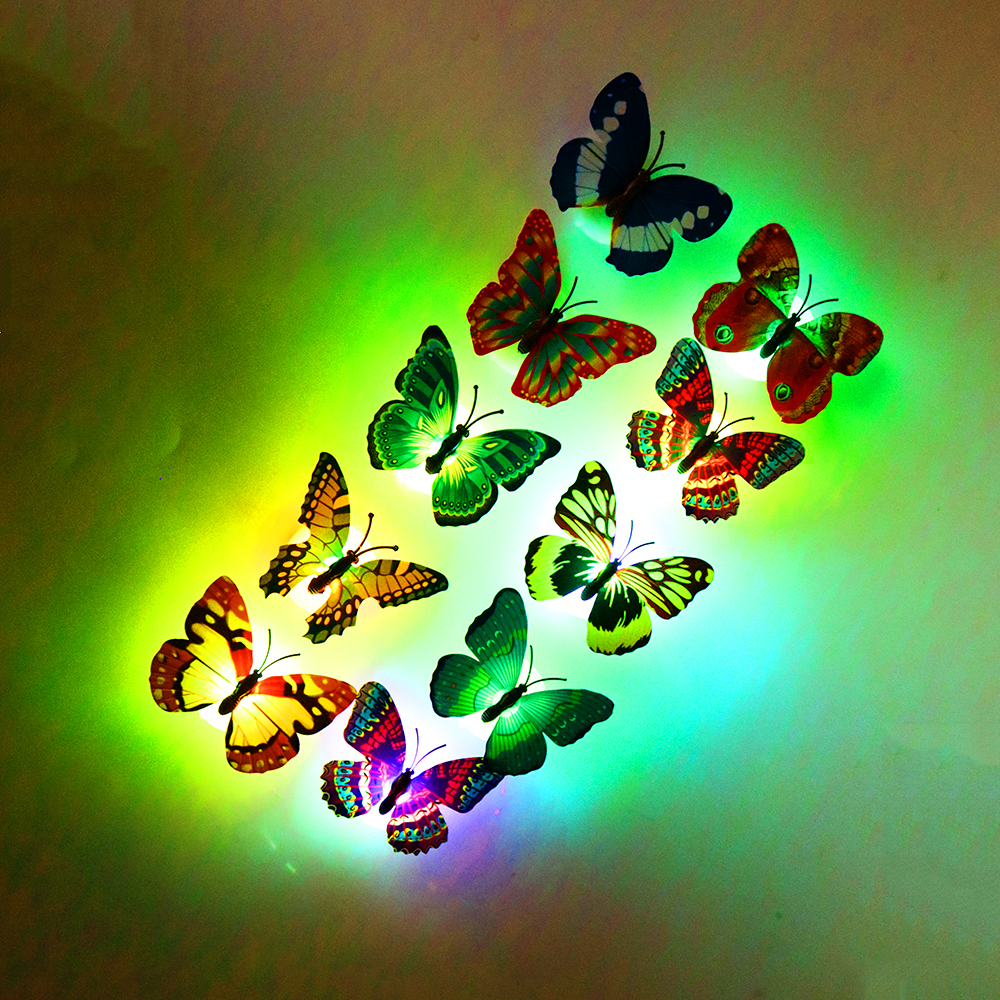 por kids wall lights lots. 10PCS/lot Butterfly Night Light 3D Wall Stickers Can Glow With Retail Box For Kids Por Lights Lots