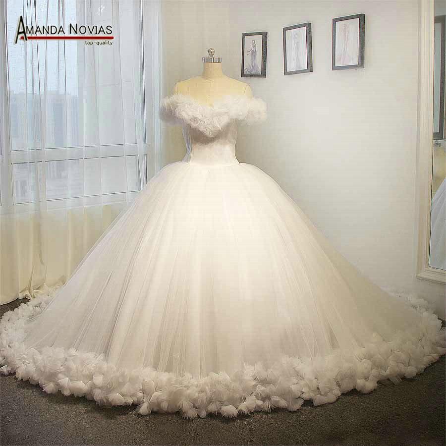 Online Shop 100% Real photos white Cinderella wedding dress fluffy ...