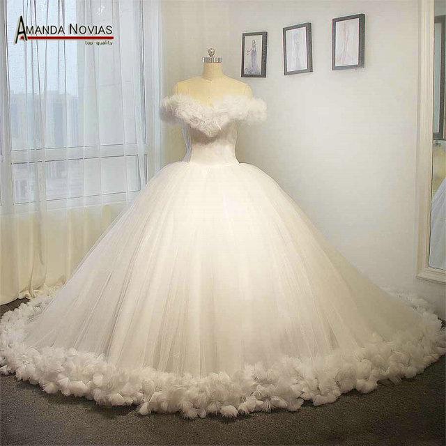 100 Real Photos White Cinderella Wedding Dress Fluffy Princess Ball Gown