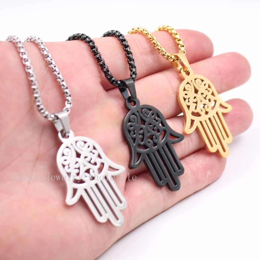 Best seller Gold/ silver/black Stainless Steel Open Hamsa Hand of Love Wisdom Forgiveness Pendant Rolo chain necklace 18-30 inch