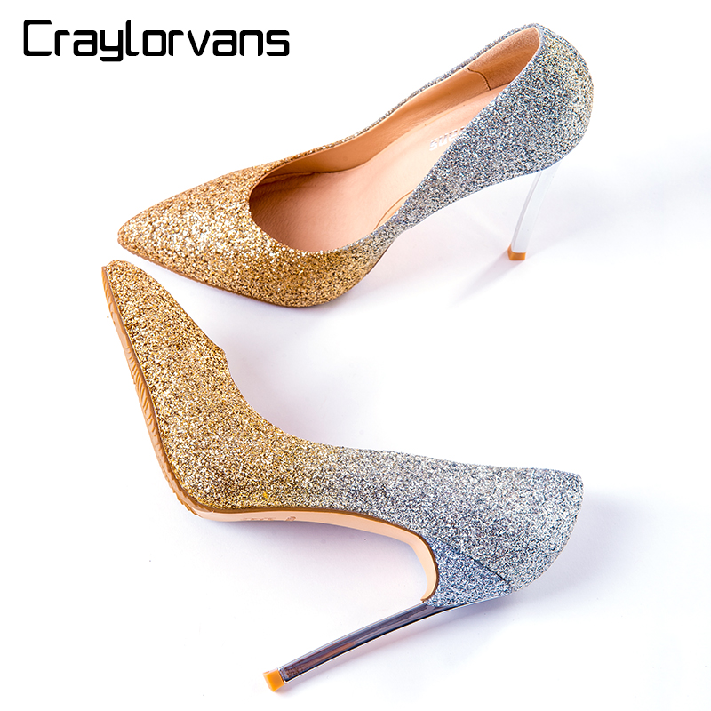 Craylorvans 12cm/10cm/8cm New Arrive Women High Heels Shoes Big Size 43 Pointed Toe Bling Gold Silver Wedding Shoes