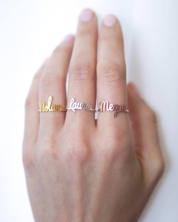 FYR88 6/7/8/9/10# New Arrival Special Fashion Personalized Gift Children Name Copper Baby Girl Ring Custom Name Ring