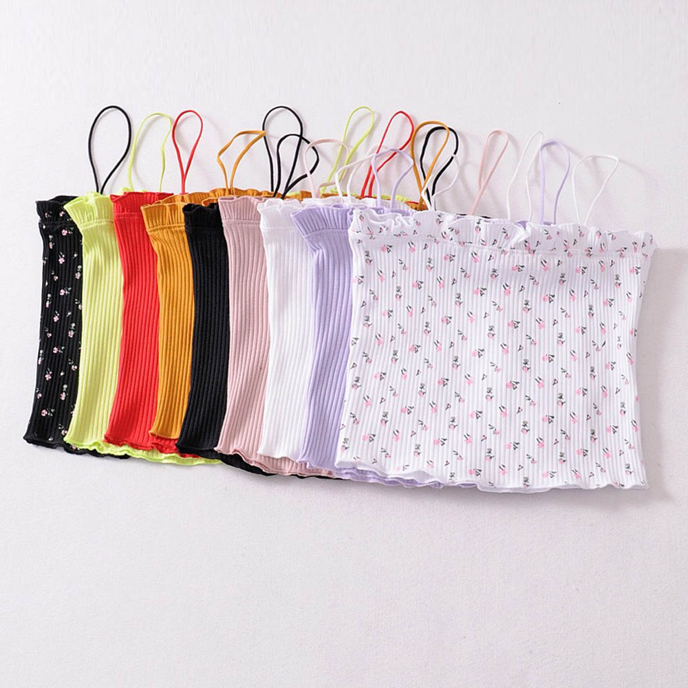 FIRSTTO Sexy Candy Colors Wood Ears Fitness Slim Tight Spaghetti Strap Camis Tops Ribbed Striped Line Short Tee Women 9 Colors