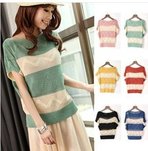2016 Spring summer New Hot Korean loose Women sweaters Hollow jumper blouse stripe bat sleeve coat Lady thin knit sweater female