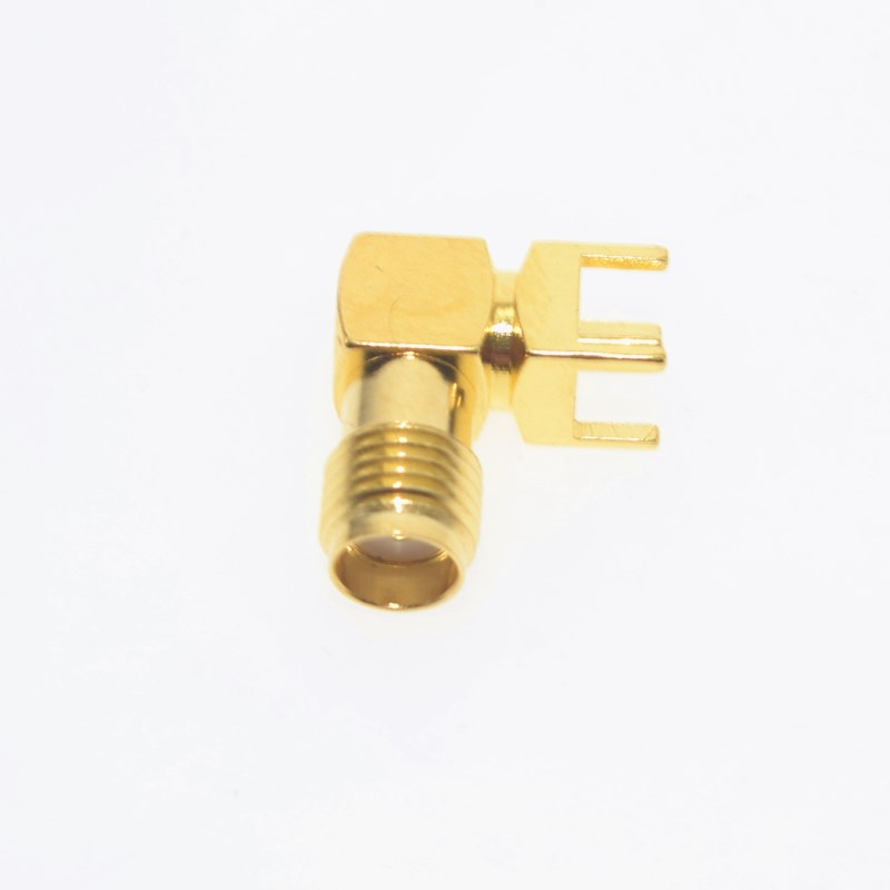 10PCS Gold RP-SMA-KWE Adapter PCB Mount RP-SMA Male Pin Jack Right Angle Coaxial RF SMA Connector
