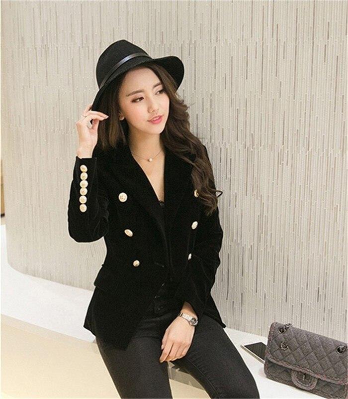 2016 New Spring Fashion Women Midnight Navy Slim Velvet Blazer Jacket Double Breasted simple Lady Blazers  (22)