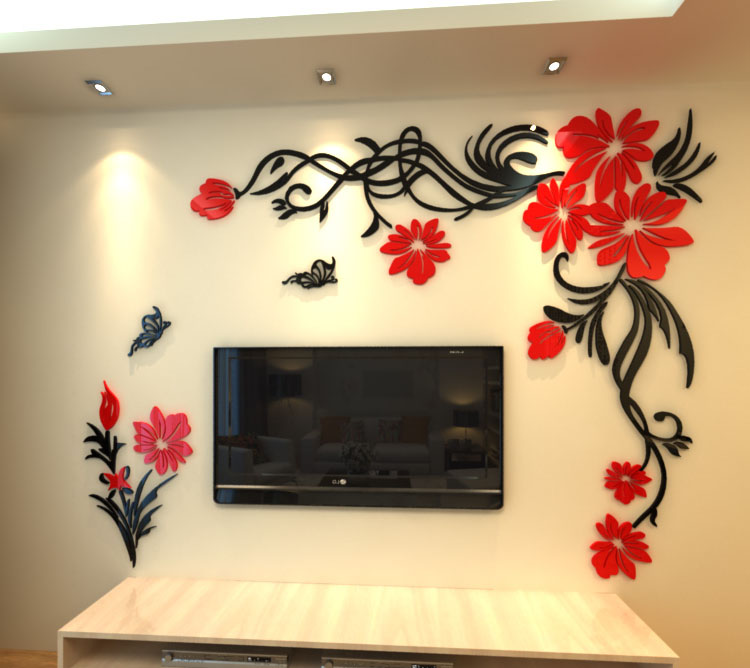 Crystal Three Dimensional Wall Stickers Living Room Tv Wall Acrylic 3d Sofa  Background Flower Vine Butterfly DIY Wall Stickers In Wall Stickers From  Home ...