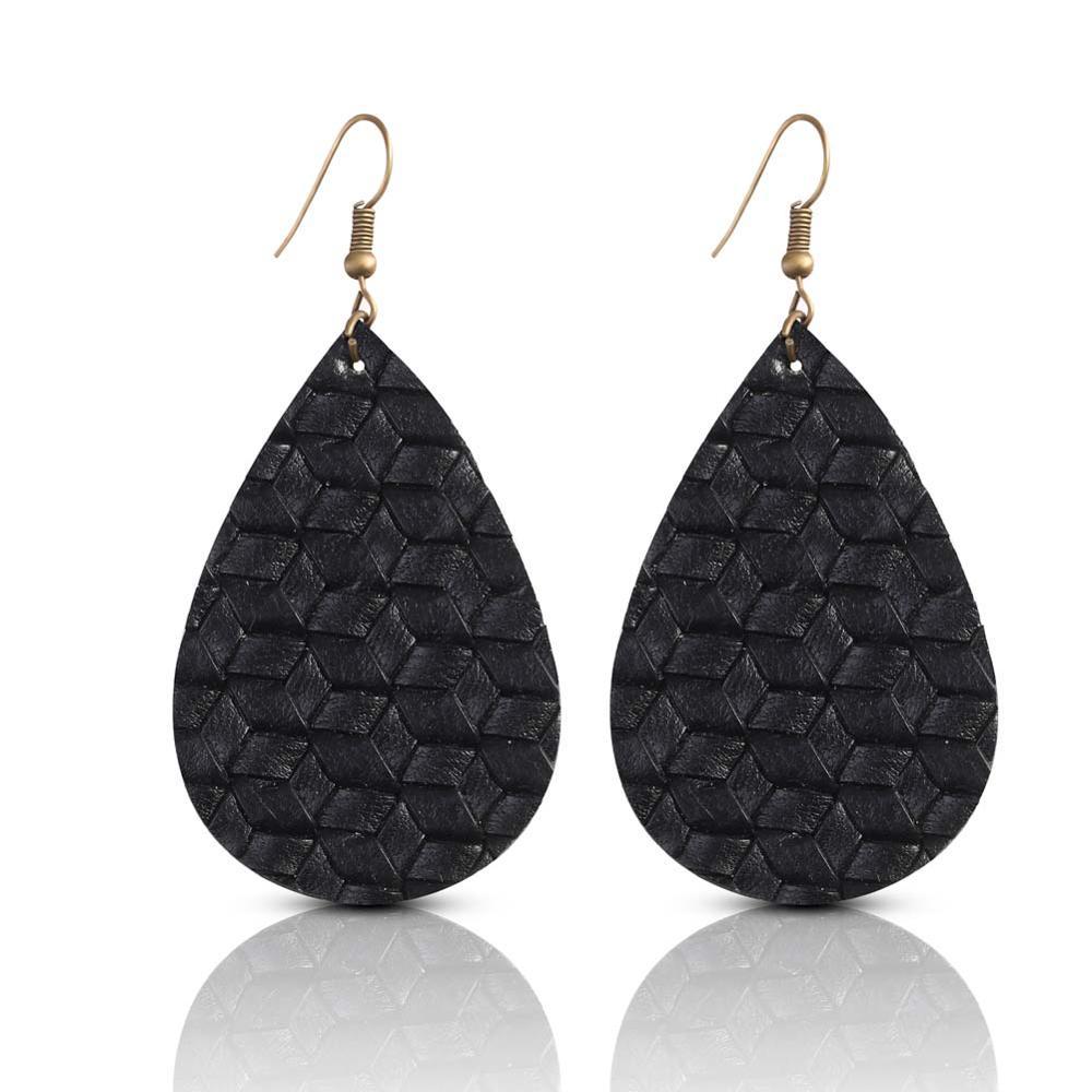 9d0fb0f296a48 Bohemian Glitter Leather Earrings for Women Fashion Red Teardrop Dangle  Earring 2019 Trendy Colorful Eardrop Designer Jewelry
