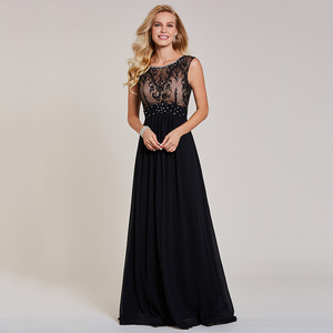 Image 3 - Dressv black evening dress cheap sleeveless a line scoop neck zipper up sleeveless wedding party formal evening dresses