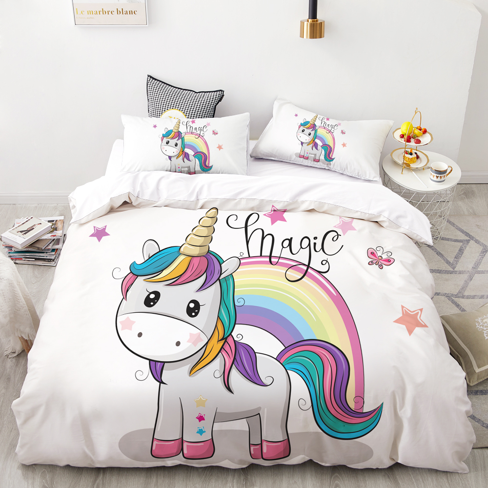 3D HD Digital Printing Custom Bedding Set,Cartoon Duvet Cover Set Queen King Kids Child Baby,Bedclothes Cute Stars Unicorn
