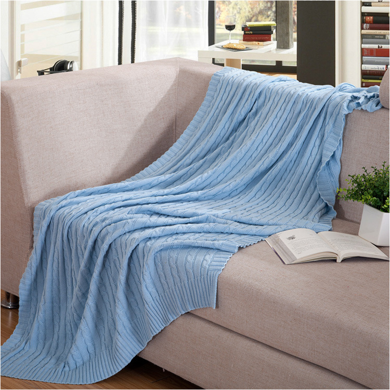 1 PCS Hot Sale Blankets Solid Color Cotton Knitted Wool Leisure Blanket For Home Beds Sofa Portable Blankets V20  new knitted blankets towels luxury hotels home sofa wool blanket europe leisure jacquard cotton blanket decorative bedding