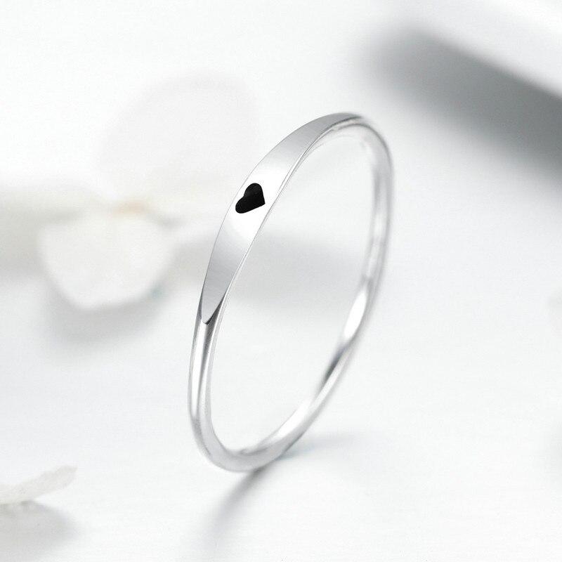 Verlobungsringe Sonderabschnitt Bisaer 925 Sterling Silber Einfache Schwarz Herz Klassische Finger Ringe Erklärung Engagement Ring Mode Schmuck Gxr468 üBereinstimmung In Farbe