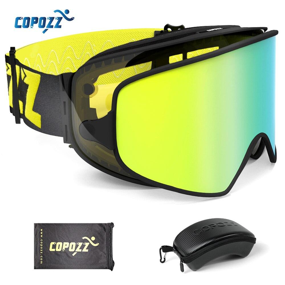 COPOZZ 2 en 1 lunettes de Ski avec étui d'origine Double lentilles pour Ski de nuit Anti-buée UV400 lunettes de Snowboard pour hommes et femmes