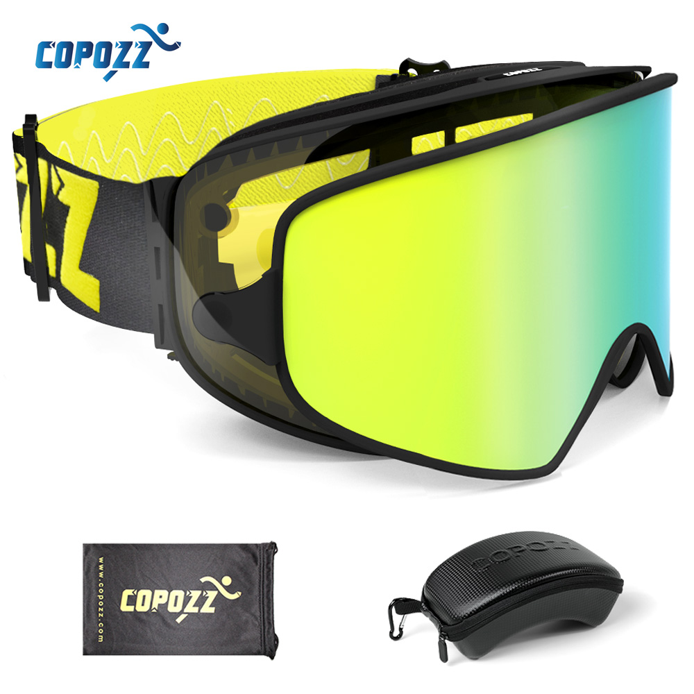 COPOZZ 2 in 1 Ski Goggles with Original Case Double Lenses for Night Skiing Anti-fog UV400 Snowboard Goggles for Men & Women