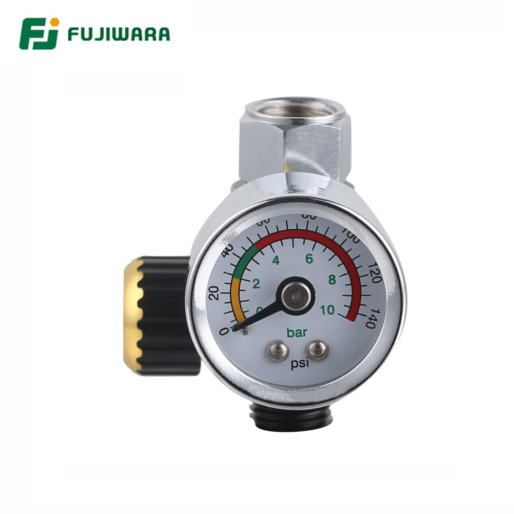 FUJIWARA Spray Gun Barometer Regulator Valve Environmental Protection Pressure Gauge  Air Inlet G1/4 Air Outlet G1/4