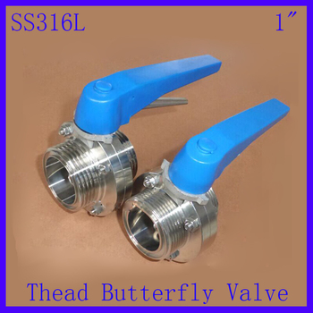 "New Arrival 1""SS316L  Stainless Steel Sanitary Manual water Butterfly Valve thread  w plastic Multi Position Handle"