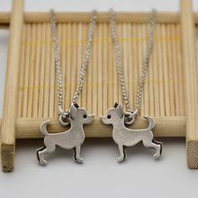Fei Ye Paws Stainless Steel Chain Statement Chihuahua Dog Charms Necklaces & Pendants Collar Boho Pet Animal Long Chain Necklace