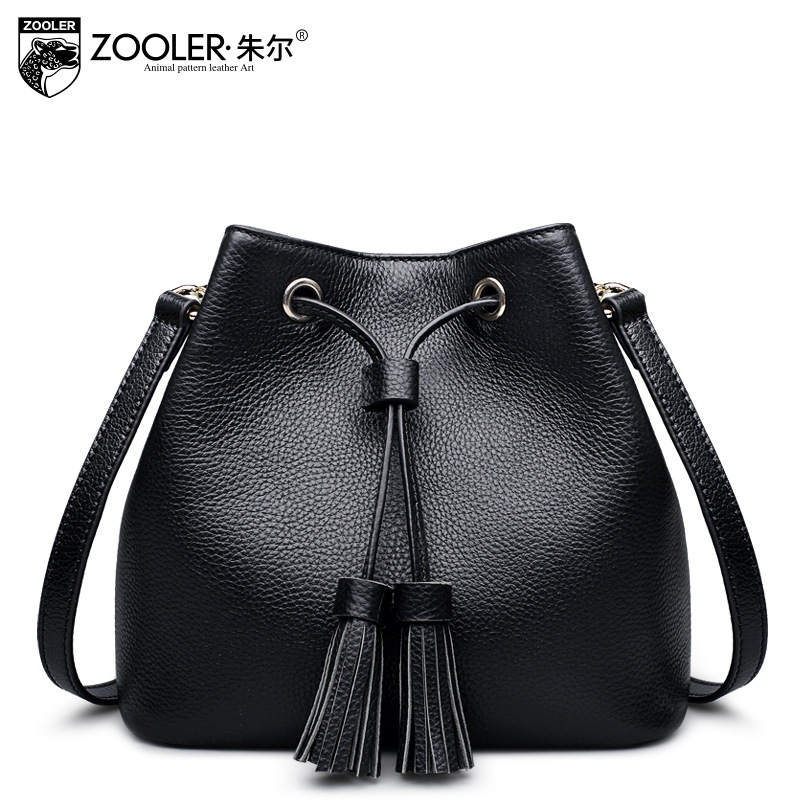 ZOOLER Women Casual Genuine Leather Shoulder Bags Female Small Fringed Bucket Bag Ladies Crossbody Messenger Bags Sac A Main zooler women genuine leather shoulder bags fashion leisure cowhide all match small messenger bag ladies casual bolsa feminina