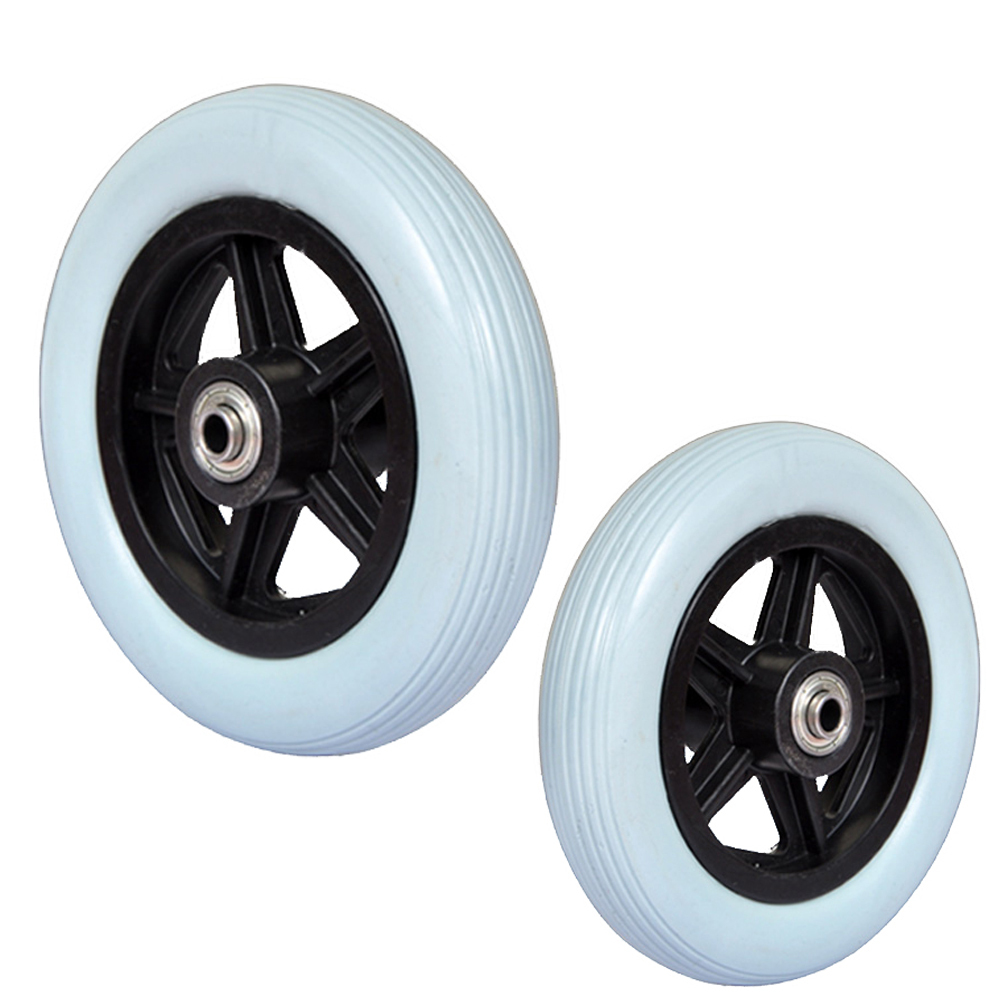 "1xPair PU wheel for manual wheelchairs,front wheels 6""/7""/8"" optional with bolt and bearing included"