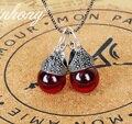925 Sterling silver Natural pedras semi-preciosas Onyx mulheres jóias Red Garnet das meninas do Vintage ágata verde oscila brincos feminino