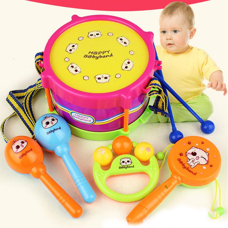 Набор инструментов Инструменты игрушечные музыкальные инструменты пластмассовый барабан, костюм из 5 предметов, звонок воспроизводить детские развивающие кольцо Музыкальная игрушка