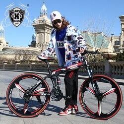 Kubeen 26 polegada dobrável mountain bike 21 velocidade duplo amortecimento 3 faca roda bicicleta freios a disco duplo mountain bike