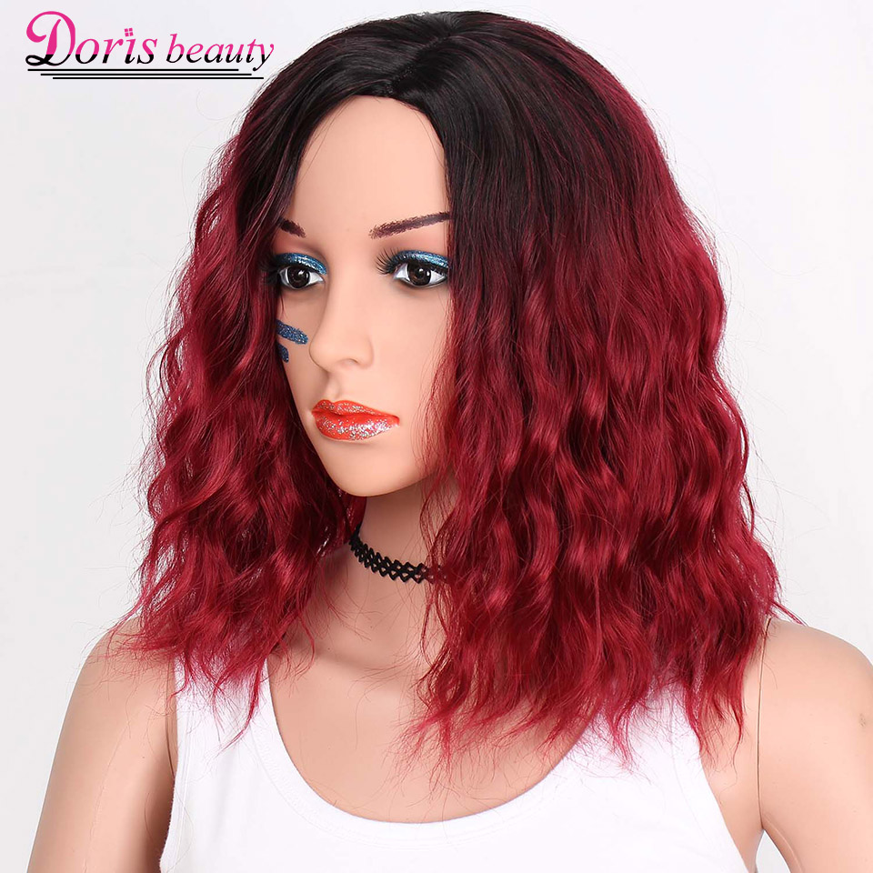 Doris beauty Ombre Red Color Synthetic Short Wigs For Women Water Wave Fluffy Hair Black Orange Green Cosplay