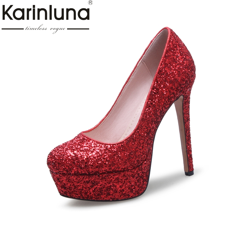 Karinluna 2018 Large Size 33-43 Round Toe Slip On Bling Women Pumps Woman Platform Thin high-heeled Pumps Leisure Woman Shoes nayiduyun women genuine leather wedge high heel pumps platform creepers round toe slip on casual shoes boots wedge sneakers