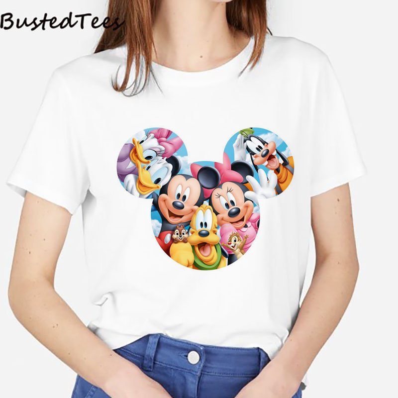 BUSTED 2019 Summer Women Fashion Style Comfortable Short Sleeve White Tops Tee Kawaii Mickey Ears 3D Print 100% Cotton T-shirt