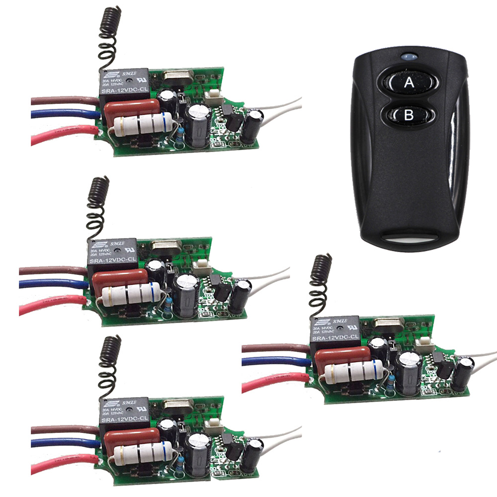 Top Quality AC220V 1CH Wireless Remote Control Switch 4pcs Receiver and Transmitter with Manual Button for Smart Home 315MHZ new design wireless ac220v remote control switch with manual button receiver for smart home 315 433mhz free shipping