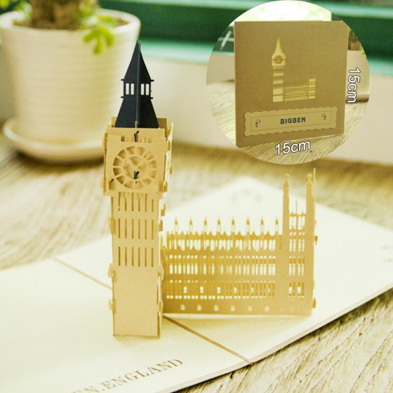 3D Retro Big Ben Birthday Cards Postcard Pop Up Greeting Card with Envelope Handmade Gift Paper Craft 3pcs/lot retro hollow kraft paper greeting card creative business gift card father s mothers day blessing card wedding cards 10pcs pack