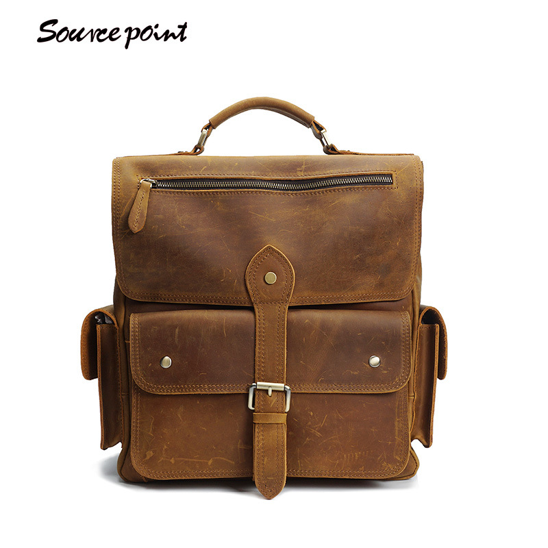 SOURCE POINT Vintage Fashion Genuine Leather Crazy Horse Large Capacity Backpacks Manual Cowhide Shoulder Bags For Man YD-8057 fashion sheepskin cadet for man genuine leather mens baret cowhide flat cap cabby hat vintage newsboy ivy driving cap