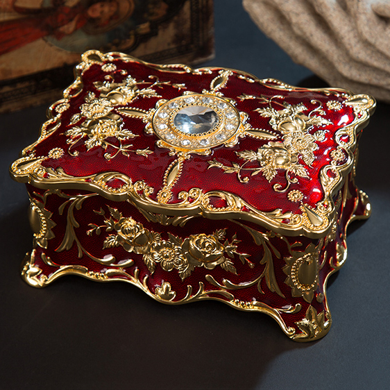 European Rectangle Shape Embossed Gold Plated with Red Epoxy and Jeweled Trinket Storage Metal Jewelry Box