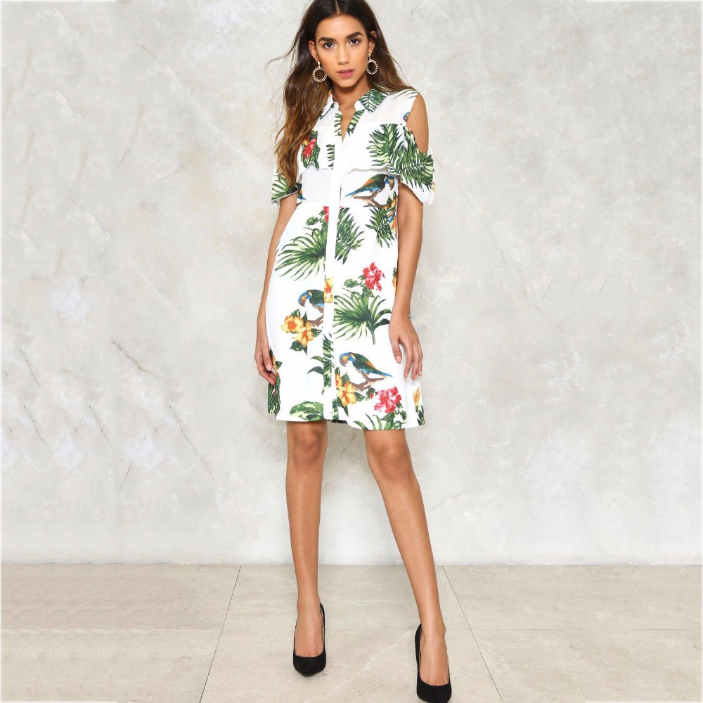 Darcydebie Europe and the United States women s fashion sexy off the  shoulder wave rainforest printed shirt dress-in Dresses from Women s  Clothing ... adfc03e6b660
