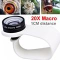 Lente macro telefone móvel 20x super lentes macro para huawei celular xiaomi iphone 5 6 samsung note 4 5, use apenas 1 cm de distância.
