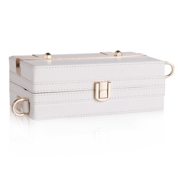Cream White Womens Trinket Storage Bag Leather Strap Travel Box PU Jewelry Carrying Case Luxury