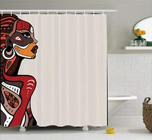 OLOEY Afro Shower Curtain Profile African Beauty Totem Girl