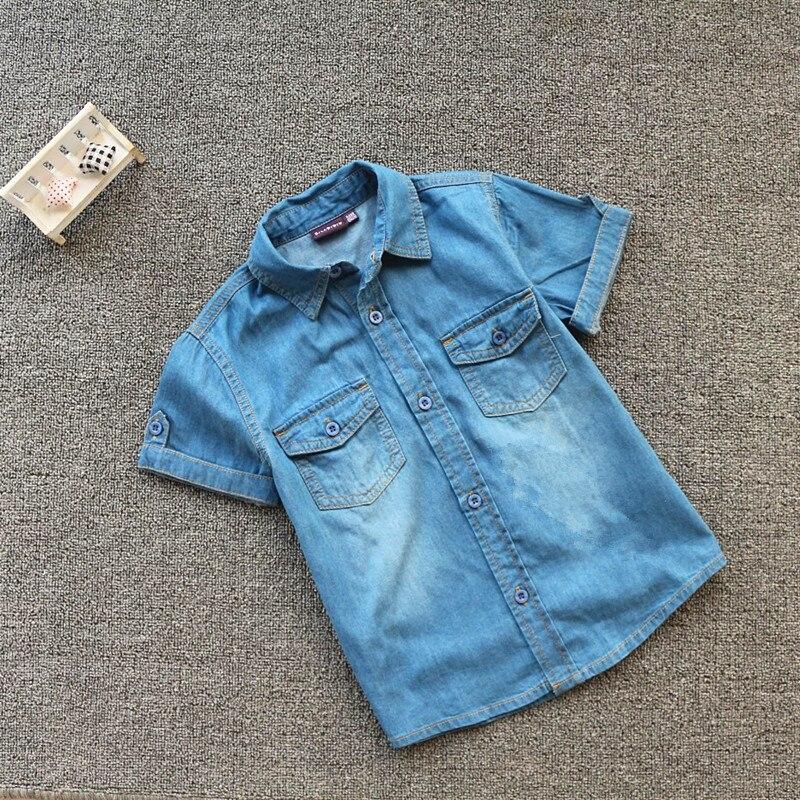 Alta qualidade novo verão menino algodão cowboy manga curta camisa.
