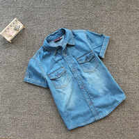 Новинка 2019 года, летняя хлопковая ковбойская рубашка с короткими рукавами для мальчиков