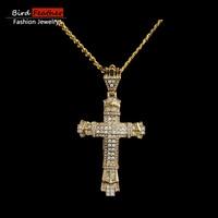 Bird Feather Copper Necklace For Men Women Big Cross Punk Zinc Alloy Pendant Chain Necklaces Pendants