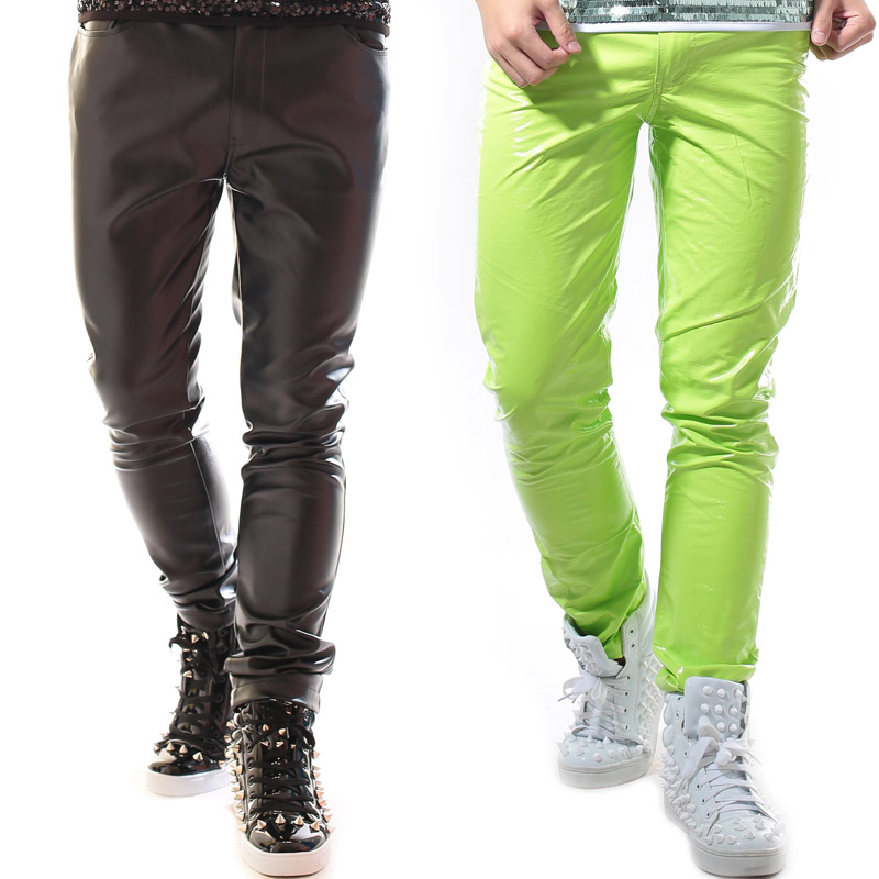 Fashion men's Candy Neon Color green Casual Leather Pants Nightclub singer dj stage pants costumes  Show performance wear