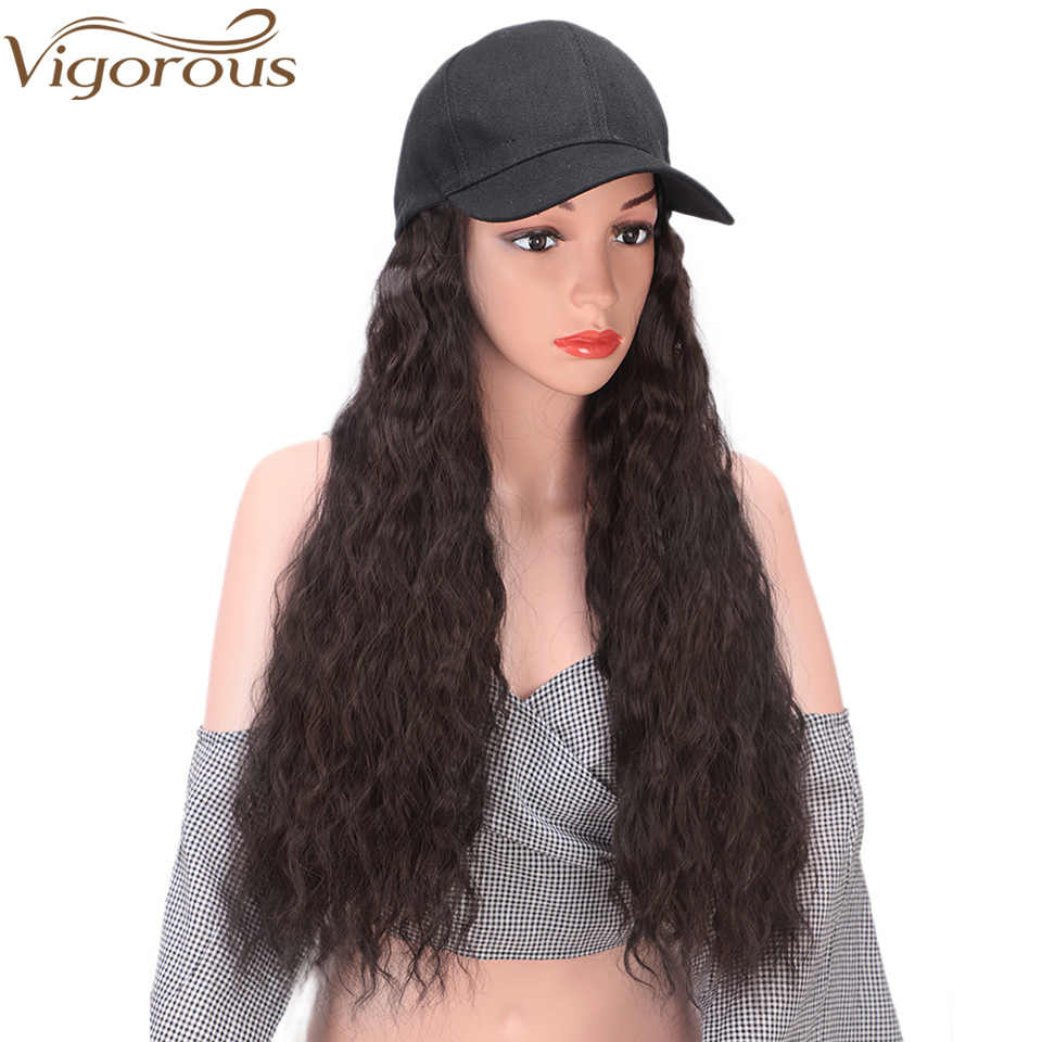 Vigorous Long Water Wave Hair Extension with Cap Black Baseball Cap with Synthetic Hair Extensions for Girls Easy to Wear