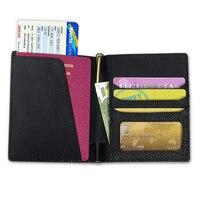 本革トラベルパスポート男性女性ケース付きギフトボックスホルダーカバーrfid nfc主催財布財布carteira