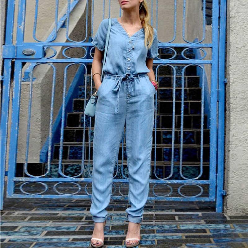 HDY Haoduoyi бренд лето 2019 женские синие джинсовые комбинезоны с v-образным вырезом и завязками на талии и пуговицами с коротким рукавом женские элегантные повседневные Комбинезоны