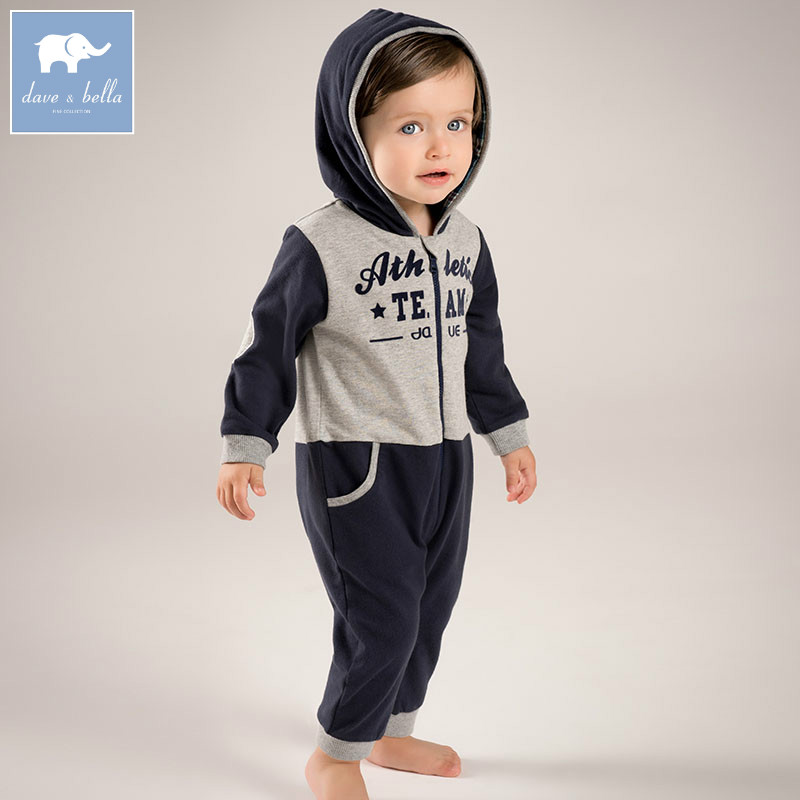 все цены на DB5503 dave bella autumn new born baby boys hooded romper infant clothes boys print cute children romper baby 1 piece
