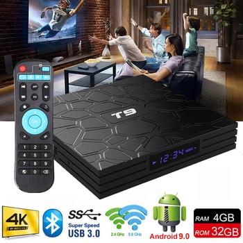 2019 Новый Android ТВ Box Android OS 9,0 4G 32G RK3328 4 ядра USB 3,0 Смарт ТВ Декодер каналов кабельного телевидения T9 2,4G WI-FI Bluetooth 4 K Smart box